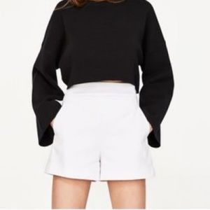 Zara High Waisted White Shorts